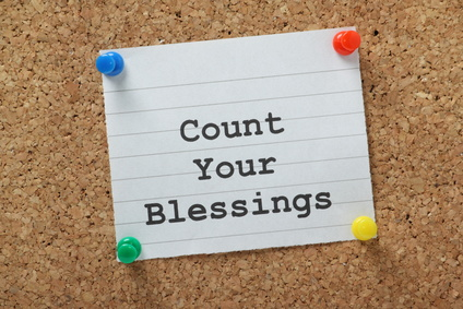 Count Your Blessings on a cork notice board
